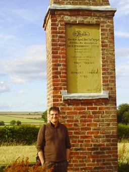 Win Scott Eckert at the Wold Newton monument