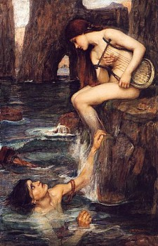 Images of the Siren have varied considerably through time. Homer doesn't give us a physical description, but they've often been portrayed as mermaid-like. Here, you can see that the Siren's legs become fins below the knee.
