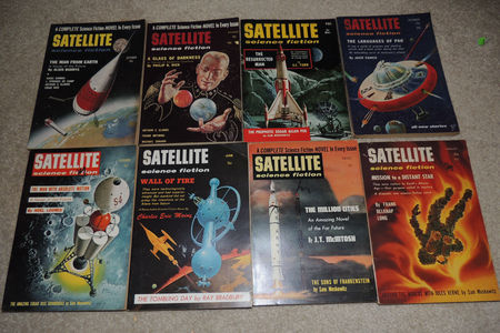Satellite Science Fiction, assorted issues from 1956 - 1958. Click for larger image.