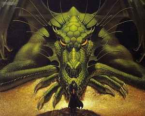 Interior art from Dragons of Darkness by Michael Whelan