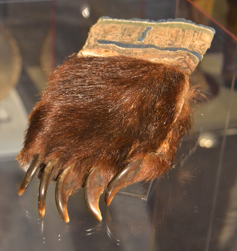 Glove made of bear claw for use in rituals.