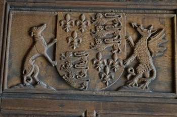 Henry VIII's coat of arms, as carved at Haddon Hall, Derbyshire.