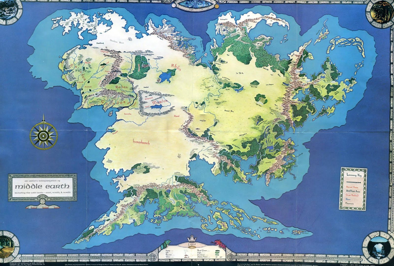 Black Gate Articles Art of the Genre ICEs MiddleEarth – Full Size Map of Middle Earth