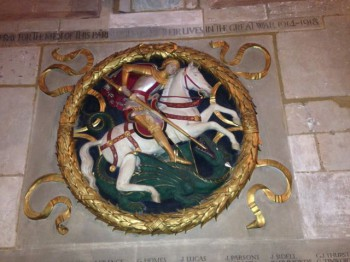 St. George slays you-know-what. Southwark Cathedral, London.