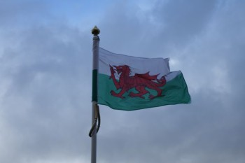 Welsh flag, Caerphilly, Wales.
