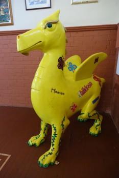 A yellow dragon, Newport Tea House, Wales.