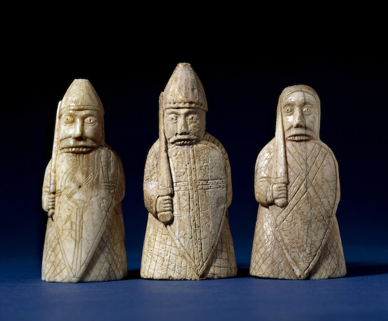Berserkers biting their shields, from the Lewis chessmen. Late 12th century, Lewis, Scotland. Walrus ivory. Copyright The Trustees of the British Museum.