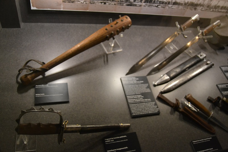 Medieval-style weapons used in the trenches.
