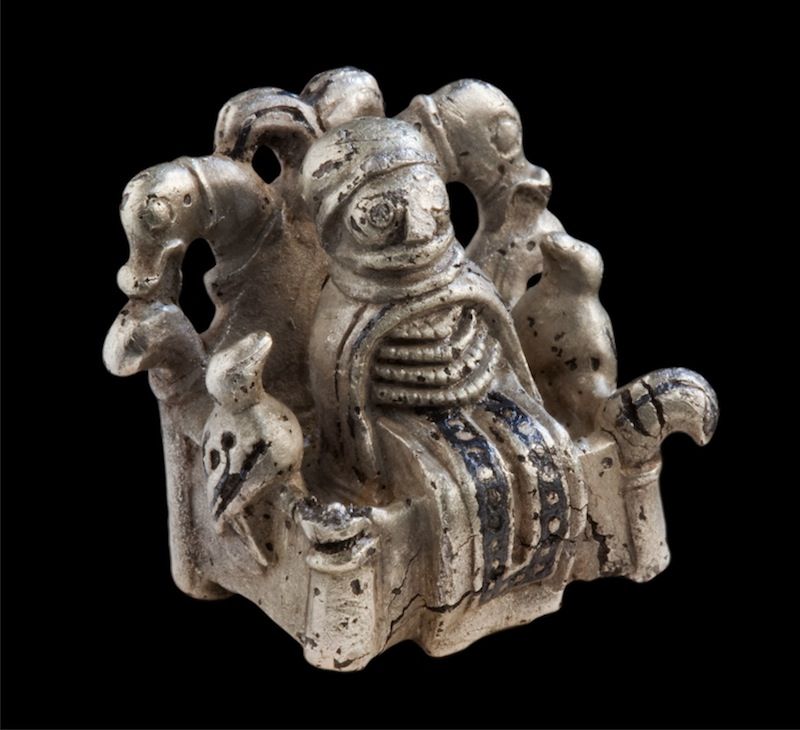 Odin or völva figure, 800-1050. Lejre, Zealand, Denmark. Silver with niello. Photo: Ole Malling, Roskilde Museum.