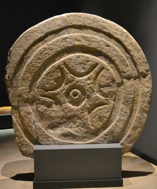 A Cantabrian stele in the prehistoric museum in Santander. These have been found throughout Cantabria and were probably funerary markers for nobleman or important warriors. This example has the distinctive Cantabrian solar symbol. Others could be decorated with swastikas and images of warriors.