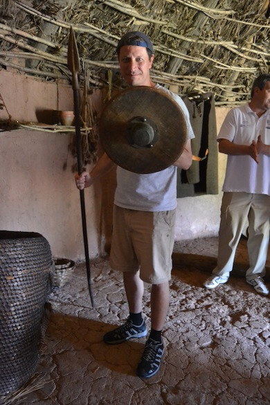 A Cantabrian spear and shield. Our guide claimed the spearpoint was original. I hope not! The shield had a large boss and could be used for bashing the enemy. This is an exact reproduction of a Cantabrian warrior, correct in every detail except for the sneakers. Those are Etruscan.