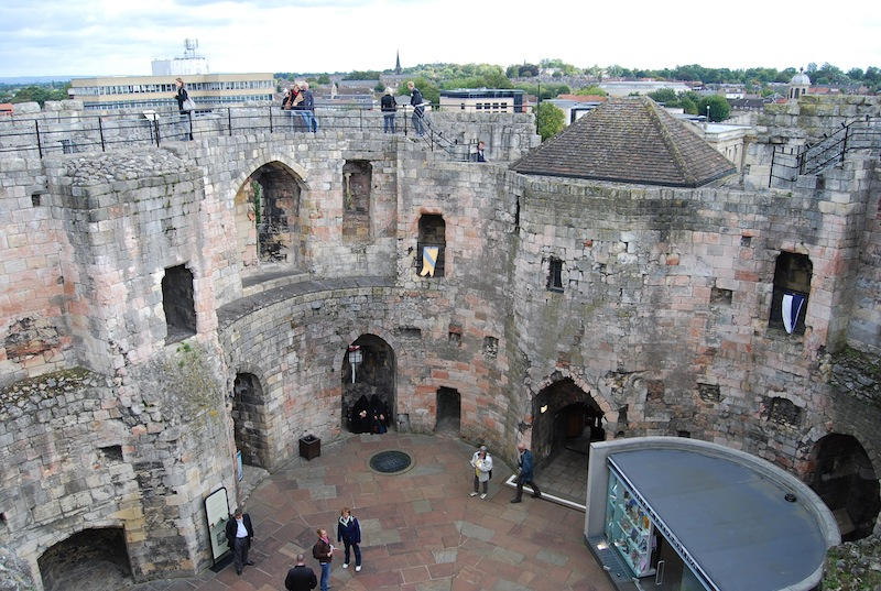 The castle interior, as seen from the top of the wall. Originally this was covered by a roof.