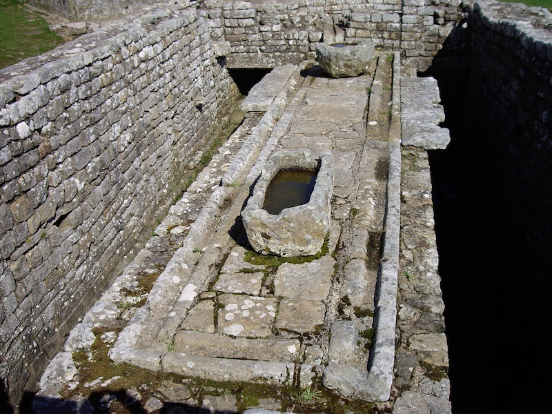 Roman latrine with drainage ditch. The stone seats and smell have disappeared.