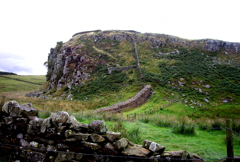 A portion of the wall. Note how the Romans took advantage of the terrain to provide additional protection.