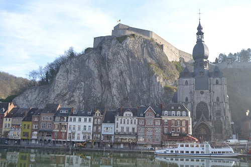 The citadel and town of Dinant as seen from the opposite bank of the Meuse.