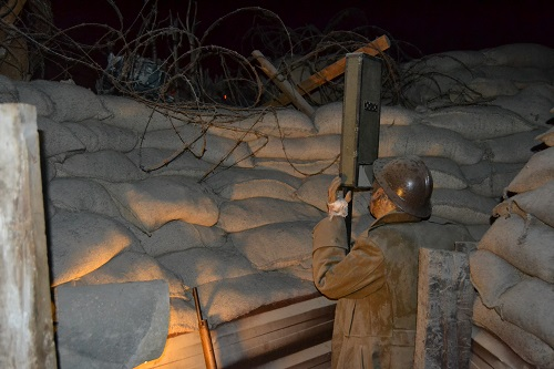 The citadel has a walk-through reproduction trench. Here a Belgian soldier uses a periscope to observe No-Man's Land.