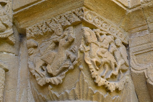Mythical beasts decorating the south door.