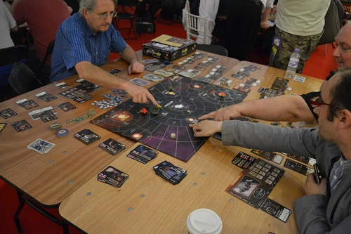 Demo of the Firefly boardgame in the games tent.