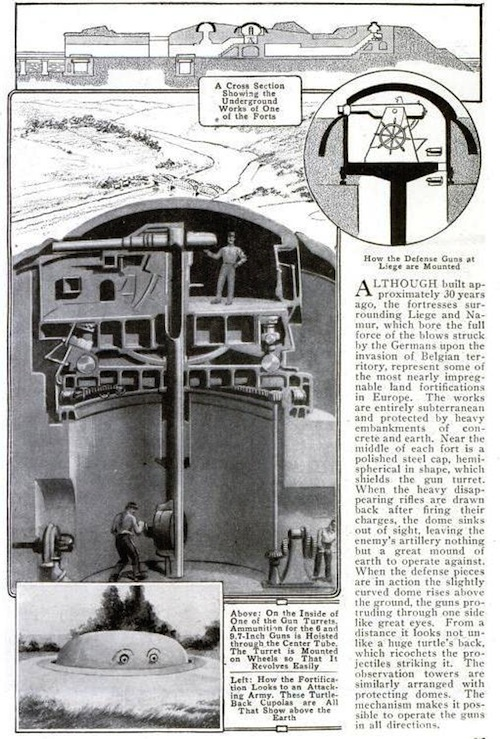 This sketch of one of the gun turrets appeared in the October 1914 issue of Popular Mechanics. Image courtesy Wikimedia Commons.
