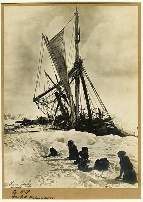 The Endurance crushed by the ice. Photograph by Frank Hurley.