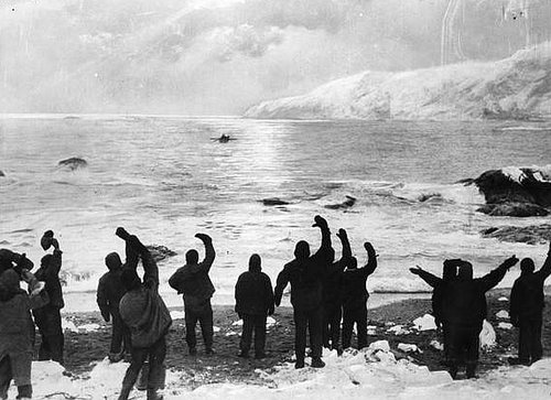 Ernest Shackleton leaves Elephant Island on the James Caird with five other members of the expedition on 24 April 1916. Their goal is South Georgia Island 800 miles away. Twenty two men remain on Elephant Island, hopefully waiting. Photographer unknown.