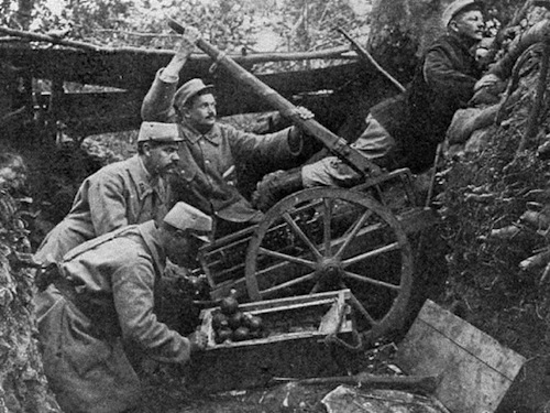 Is the German trench too far away to reach with a grenade? Do what these French soldiers did in 1915 and use a catapult! Image courtesy Wikimedia Commons.