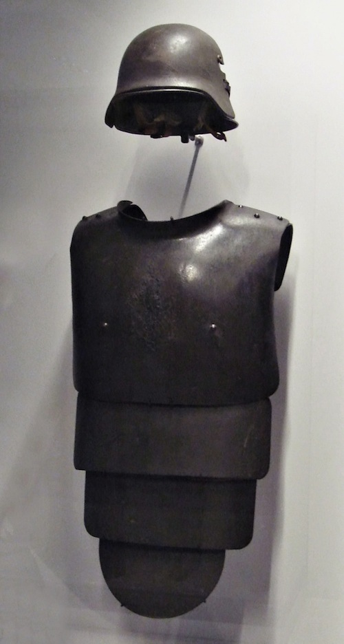 German steel helmet and armor, 1916. I have no idea why the armorer included little steel nipples.