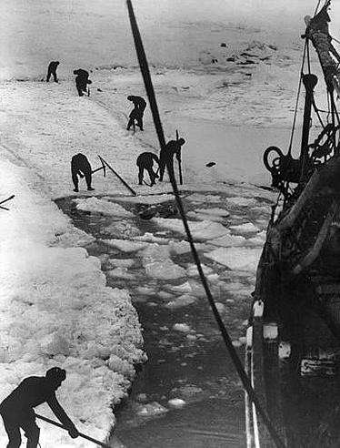 Trying to cut a path through the ice during the Endurance expedition. Photographer unknown.