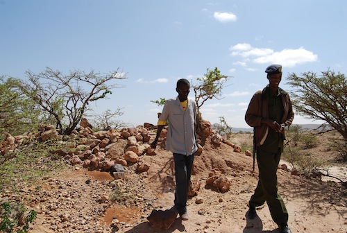Ali and one of my guards at a prehistoric burial cairn on the way to Laas Geel. While the cities are safe, the government asks that you bring a pair of soldiers with you when you explore the countryside. I never experienced any hostility in Somaliland but the government is anxious to maintain a good reputation.