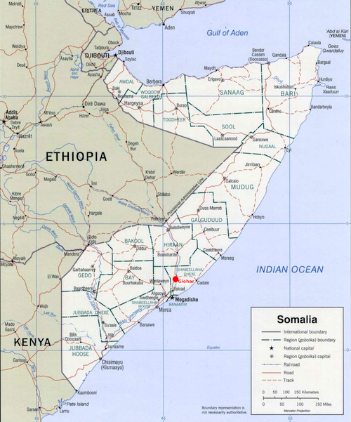 """Map of modern Somalia. Zeila is shown as """"Saylac"""" near the border with Djibouti. The northern third of the country is now the unrecognized state of Somaliland. The tip of the Horn of Africa is the unrecognized state of Puntland."""
