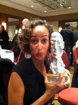 Sofia Samatar with the World Fantasy Award. Photo by Nathan Ballingrud.