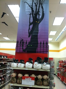 """In the strange retail """"nightmare before Christmas"""" time, Hallowe'en and XMas displays intermix"""