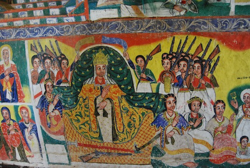 The Megus negasti surrounder by his supporters, from a mural at a monastery on Lake Tana.
