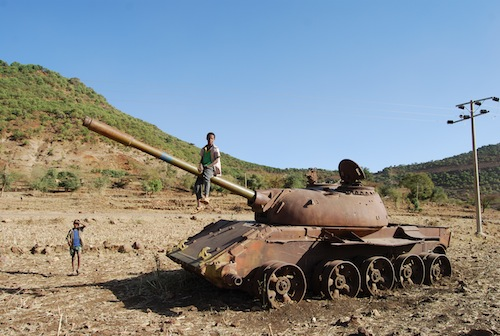 Playing on a tank in Ethiopia.