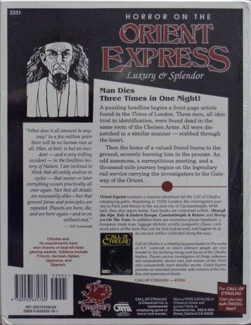 Horror on the Orient Express First Edition 2-back-small