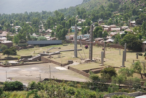 The stelae park in Axum. Note the green hills all around. Much of the Ethiopian highlands is lush and fertile. Photo courtesy Wikimedia Commons.