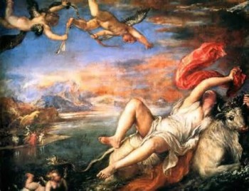 "Titian's ""Rape of Europe"", inspired by the Metamorphoses."