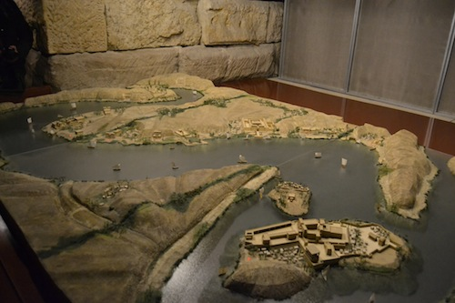 Model of area around the Temple of Debod before the Aswan High Dam project. The temple was located on the peninsula on the upper left.