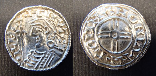 Silver penny of Cnut, Short Cross type, moneyer Godman of London. Around 80% of the coins in the hoard are of this type, but from a wide variety of moneyers and mints. © The Trustees of the British Museum.