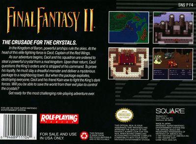Final Fantasy 2 Super Nintendo back-small