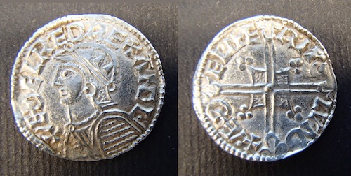 Silver penny of Æthelred  II, Helmet type, moneyer Æthelmer of London © The Trustees of the British Museum.
