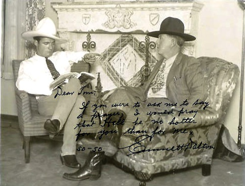 No stills are known to exist from Emmett Dalton's films. Here he is on the right talking to western star Tom Mix on the left.