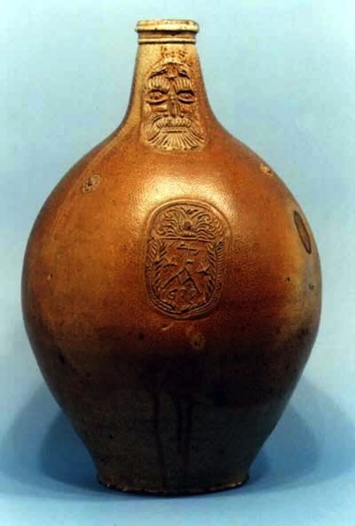 The Bellarmine jug was popular for witch bottles. This one is stamped with the date 1688. Photo courtesy Wikimedia Commons.