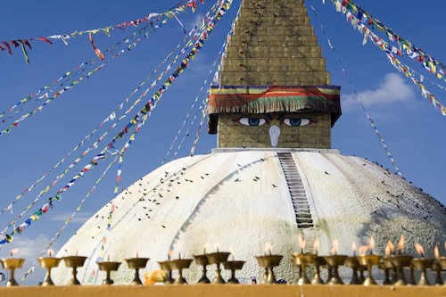 Bodnath Stupa, Kathmandu, is a popular pilgrimage spot for Tibetan Buddhists. Its origins are unclear but it is at least a thousand years old. Photo courtesy  Luca Galuzzi - www.galuzzi.it