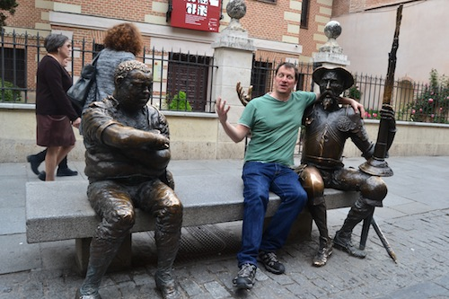 Yours truly hanging out with Don Quixote outside the Cervantes' old home. Sancho Panza looks unimpressed. I actually had to stand in line for this shot, it's that touristy. Copyright Almudena Alonso-Herrero.