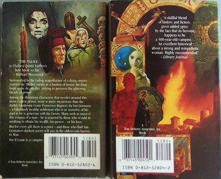 Back cover for The Palace and A Flame in Byzantium. Art by Sanjulian (click for bigger versions)
