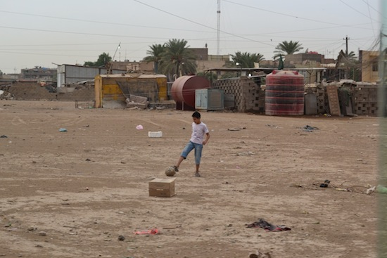 The local football pitch.