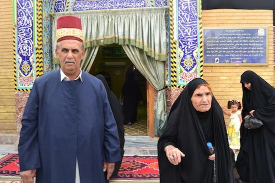 Elderly visitors to a Shia shrine.