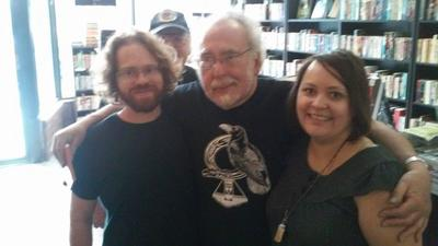 Owners Grant and Jenny with Peter S. Beagle