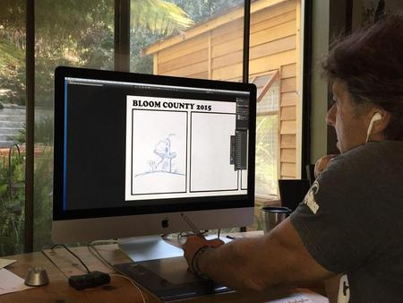 Berkeley Breathed draws Bloom County